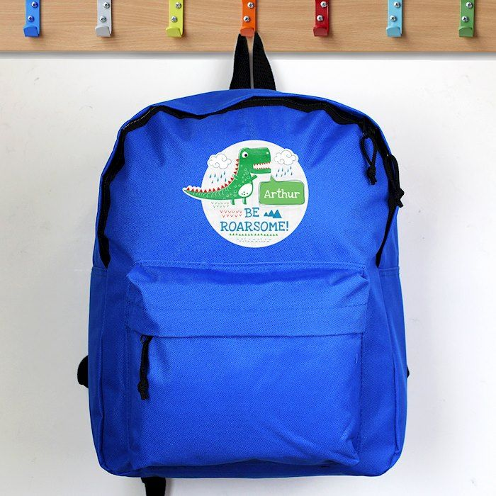Personalised Dinosaur 'Be Roarsome' Backpack Bag - ideal for Days out, Back to School, Birthdays and Christmas.
