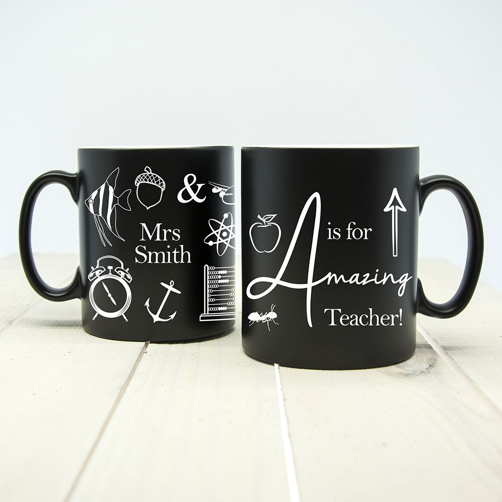 Personalised A is for Amazing Teacher Matte Coloured Mug (choice of colour) - ideal end of term gift for your favourite teacher