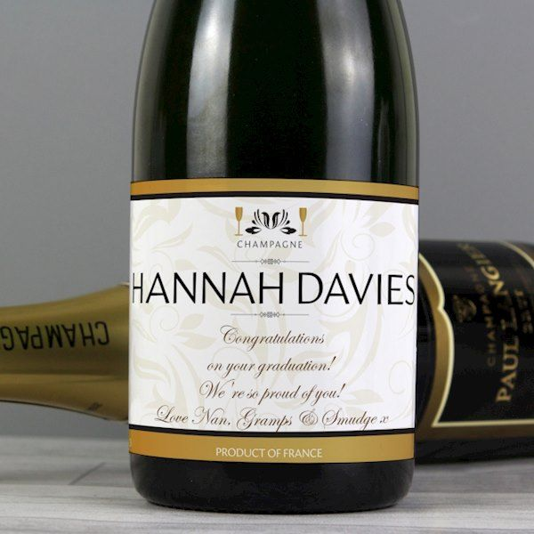 Personalised Damask Champagne Bottle Gift - ideal for Anniversaries, Weddings, Valentines, Graduation, Thank You Gift, Engagement, Birthdays.