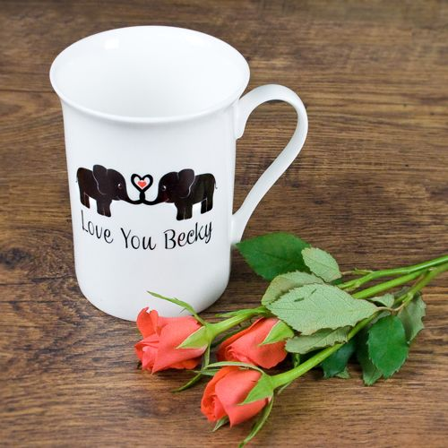 Elephants In Love Bone China Mug