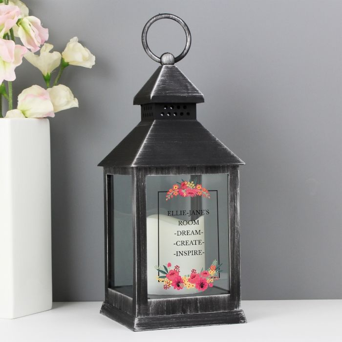 Personalised Floral Rustic Black Lantern - ideal gift for new home, wedding day, anniversary, engagement