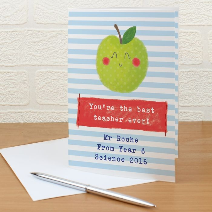 Personalised Happy Apple Card - ideal end of term greeting card for your favourite teacher