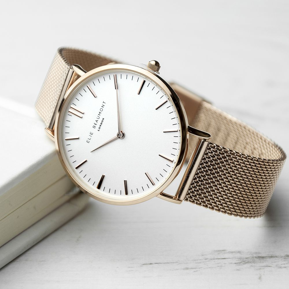 Ladies Rose Gold Mesh Watch With White Dial