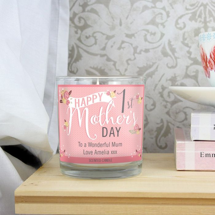 Personalised Floral Bouquet 1st Mothers Day Scented Jar Candle