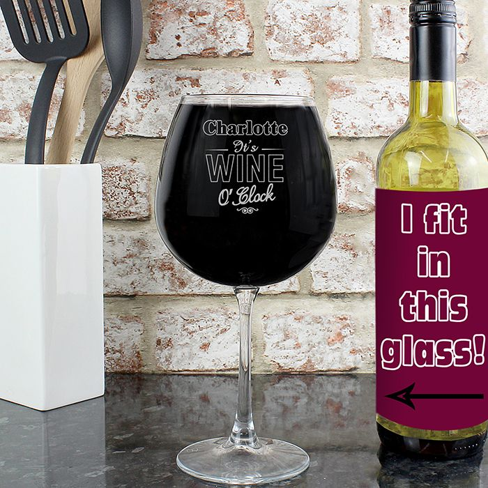 Personalised Wine O'Clock Bottle of Wine Glass