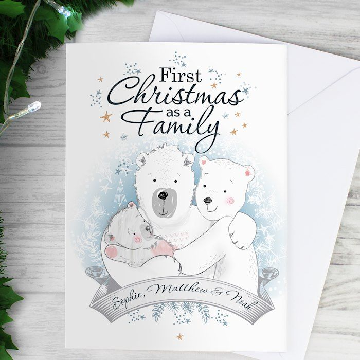 Personalised 1st First Christmas as a Family Card Baby/'s first Christmas Card