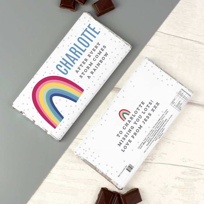 Personalised Rainbow Chocolate Bar (FREE UK Delivery) - ideal gift for NHS, Thank you, Children, Birthdays, Christmas.