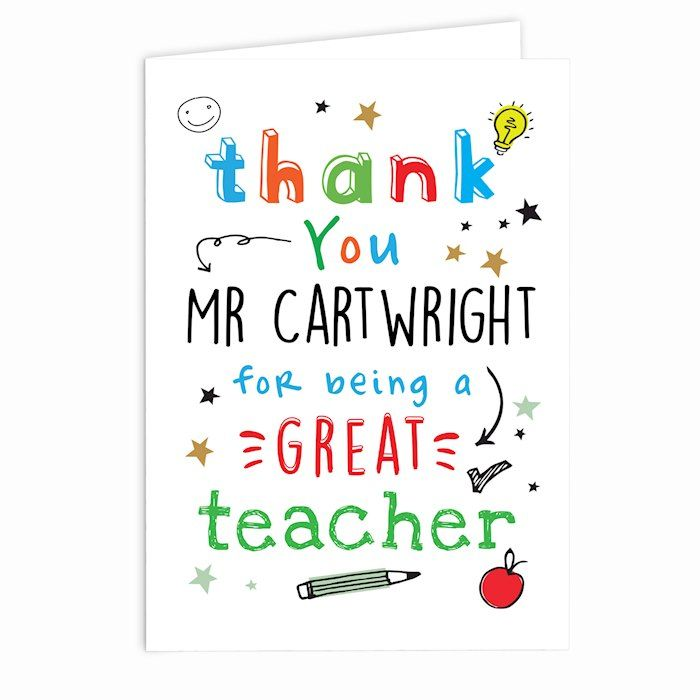 Personalised Thank You Teacher Card - ideal end of term greeting card for your favourite teacher