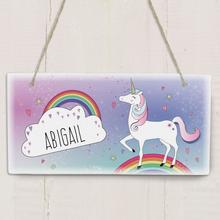 Personalised Unicorn Wooden Sign - ideal gift for new home, new house, bedroom door